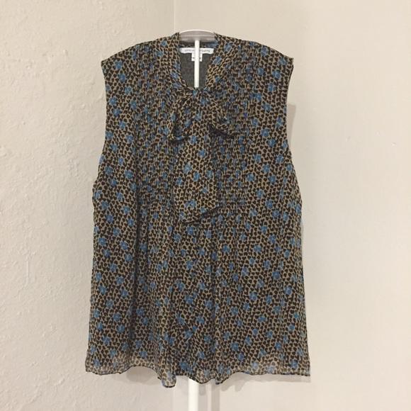Diane Von Furstenberg Tops - Diane Von Furstenberg sleeveless silk cheetah 12